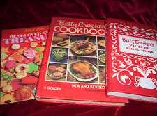 Lot of 3 Betty Crocker's Cookbooks Picture Facsimile Cooky Squares Red HB/PB