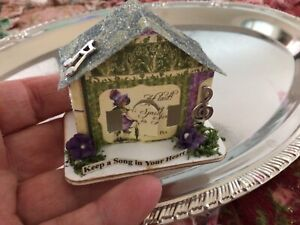 Tim Holtz Paper Village MINIATURE PAPER PUTZ LIKE HOUSE Purple Green HEART SONG