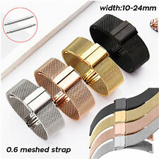 10-24mm 22mm Stainless Steel 0.6Wire Milanese Loop Band Secure Clasp Watch Strap