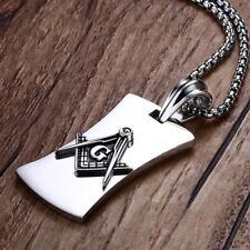 High Polished Stainless Steel Masonic Jewelry Dog Tag Freemason Pendant