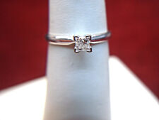 1/3  CT PRINCESS CUT DIAMOND SOLITAIRE 14K  WHITE GOLD ENGAGEMENT RING - L@@K