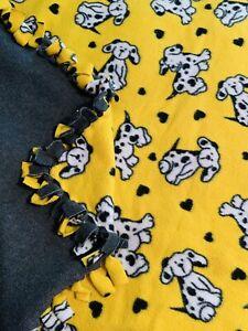 "Handmade Throw w/Fringe 50"" x 45"" ; Yellow, White and Black Dalmatian Dogs - LNC"