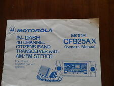 Motorola In-Dash 40 Channel Citizens Band Transceiver Manual