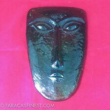 Cast Glass Art Glass Tribal Face Sculpture Green