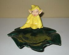 Vintage Yellow Elf Pixie Sitting on Green Leaf Small Dish Tray