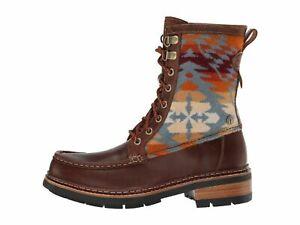 Clarks x Pendleton Ottawa Peak Dark Tan Combi Women's Moc Toe Boots 38339