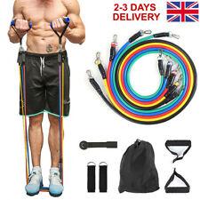 Resistance Bands Set Full Body Workout Exercise Yoga Fitness Rainbow Colours UK