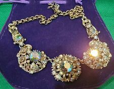 Vintage Aurora Borealis Crystal Necklace Art Nouveau 1900. Stunning, Bling