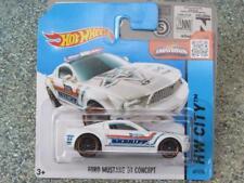 Hot Wheels 2015 #049/250 Ford Mustang Gt Konzept Weiß Sheriff Hw Stadt Hülle Q