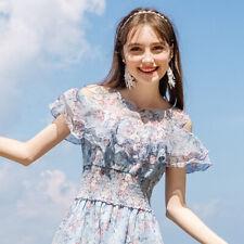New Women Teen Girls Summer Dress Knee Length Printed Flower Age 11-16 Size 6-10