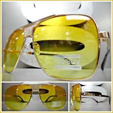 OVERSIZED CLASSIC VINTAGE RETRO Style SUN GLASSES Gold Frame Orange Yellow Lens