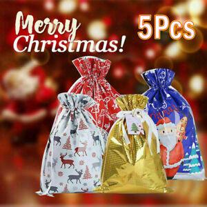 5x Christmas Sacks Reusable Drawstring Wrap Present Gift Party Bags Storage Bag