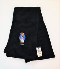 Limited Polo Ralph Lauren Bear Scarf Black Cotton Blend Skiing Skier