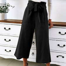 Womens Cotton Linen Vintage Knotted Tie Wide Leg Trousers Summer Pants Holiday