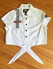 Harley Davidson Motorcycle Short Sleeve Tie Front Blouse Button Down Women's (M)