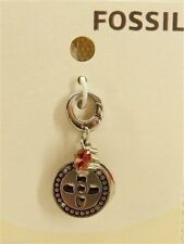 Fossil Button Charm Silvertone Crystal Button Bracelet Charm New! NWT