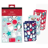 100 Novelty Cartoon Santa Labels Christmas STICKER Gift Tags Name Xmas Present