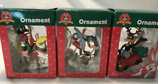 LOT OF 3 MATRIX LOONEY TUNES COLLECTABLE HOLIDAY CHRISTMAS ORNAMENTS EXCELLENT