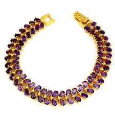 Sterling Silver Gold Plated Genuine Purple Amethyst Two Row Bracelet 7 Inch