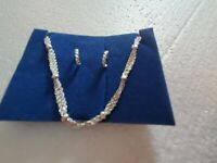 Simple Signed Avon Layered Knotted Necklace And Huggie Earring Set Silver Tone