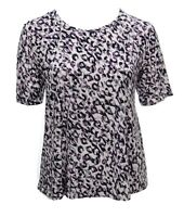 UK Size 16-24 Pretty Stretch Purple Leopard Print Top New With Tag Casual Ladies