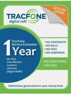 TracFone Service Extensión 1year/365days/2000minutes/2000text/2000Data (Digital)