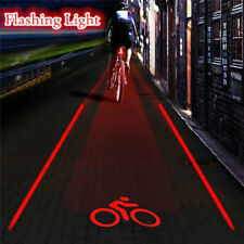 2 Laser+ 5 LED Flashing Lamp Light Rear Cycling Bicycle Bike Tail Safety Warning