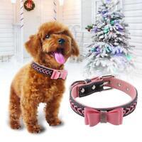 Pet Small Dog Cat Puppy Collar Rhinestone Soft PU Bow Tie Collar Necklaces