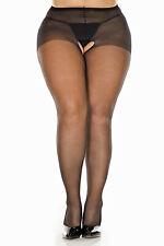 Plus Size Sheer Nylon Crotchless Pantyhose (20905Q)