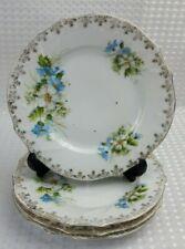 More details for 4x victorian porcelain side salad plates 17.5cm - blue floral embossed vintage