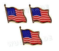 3pk American Flag Lapel Pin USA Patriotic United States America Tie Tack Waving