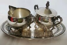 Vtg. SILVER PLATED COVERED SUGAR BOWL &CREAMER HONG KONG FLORAL DESIGN with tray
