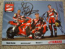 Tommy Hill, GARY MASON & Steve Plater signé VIRGIN MOBILE YAMAHA BSB Carte