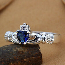 10 kt White Gold Celtic Claddagh Ring W/sapphire Stone Heart &Aaa Cz Crown stone