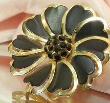 Beautiful Vintage 1950's Enamel Rhinestone Flower Brooch 629AG5