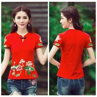 Lady Floral Embroidery Shirt Top Short Sleeve Slim Chinese Ethnic Retro Blouse