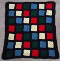 "Vintage Afghan Black Granny Square 38x36"" Handmade Crocheted Throw Blanket"