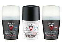 Vichy Homme Deodorant Anti-Perspirant 50ml Roll-On -48HR 72HR No-Stains -for MEN