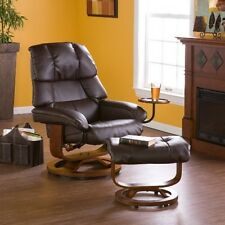 Southern Enterprises Cafe Brown Leather Recliner and Ottoman UP7673RC Recliner