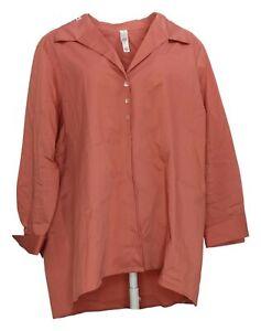 Marla Wynne Women's Plus Sz Top 1X Poplin Button Down Shirt Pink 624082