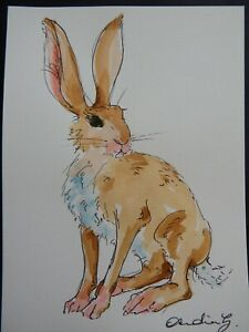Original pen & ink & watercolour painting of a brown hare sitting