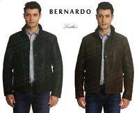 Men's BERNARDO Fashion Genuine Leather Jacket Suede Textured Black   Brown NWT