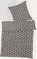 6-tlg. Bettwäsche (4-tlg. + 2 Bettlaken) - 155 x 220cm - grau Sterne Mikrofaser
