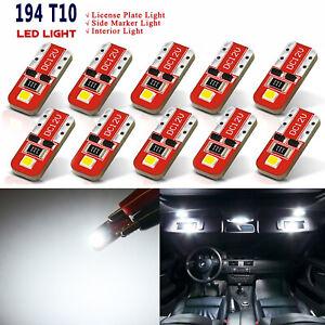 JDM ASTAR 10x T10 White 2-SMD LED Map Dome Lights Bulb 194 168 175 W5W 2825 192