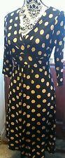💜Striking PHASE EIGHT Black/Camel Spot Pattern Twist Front  Dress, Size 12💜