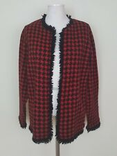 Sport Requirements Red Black Houndstooth Fringed Open Front Cardigan Sweater Med