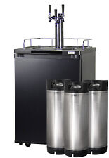 Kegco Homebrew Kegerator Triple Faucet Keg Dispenser Black with Ball Lock Kegs