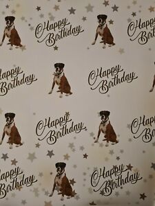 BOXER DOG HAPPY BIRTHDAY GIFT WRAPPING PAPER 60cm