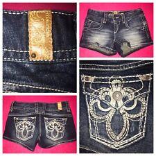 MAURICE'S Stylish Fleur De Lis Women's Denim Blue Jean Shorts Size-(1/2) Regular