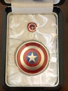 2016 2 oz Silver Fiji 75th Anniversary Captain America Shield Collectible Coin